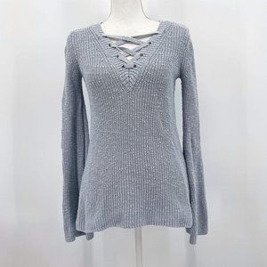 American Eagle Lace Up V Neck Bell Sleeve Sweater